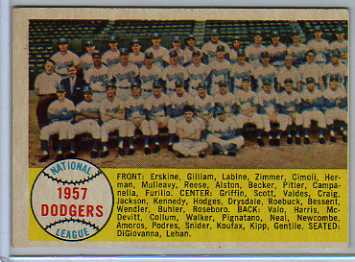 1958 Topps #71 Los Angeles Dodgers TC front image