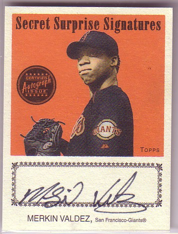 2004 Topps Cracker Jack Secret Surprise Signatures #MV Merkin Valdez B
