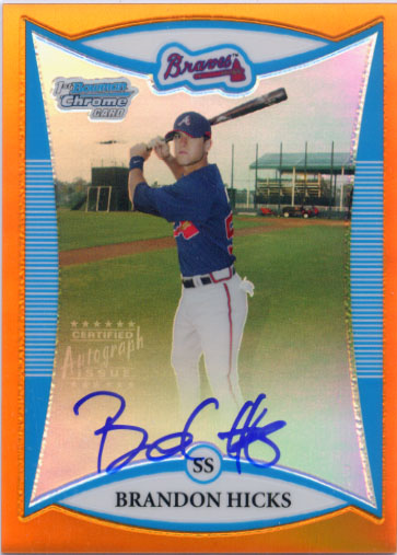 2008 Bowman Chrome Prospects Orange Refractors #BCP251 Brandon Hicks AU