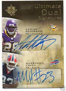 2007 Ultimate Collection Ultimate Signatures Duals #DSPL Adrian Peterson/Marshawn Lynch