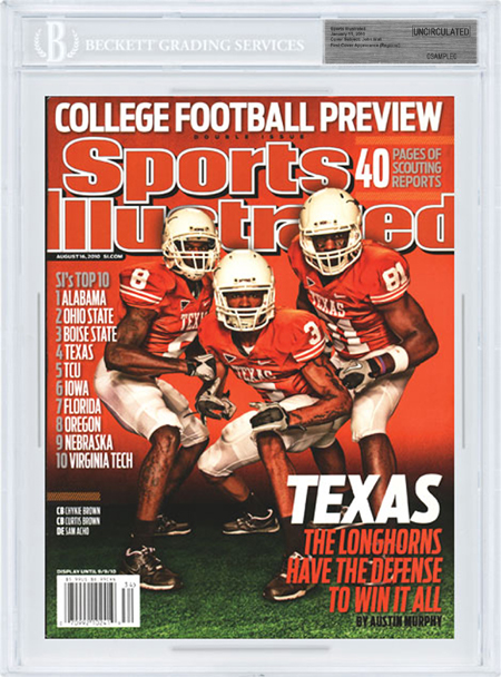 SPORTS ILLUSTRATED BGS SI Uncirculated TEXAS LONGHORNS Regional 8/16/10 front image