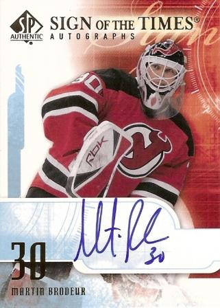 2008-09 SP Authentic Sign of the Times #STMB Martin Brodeur