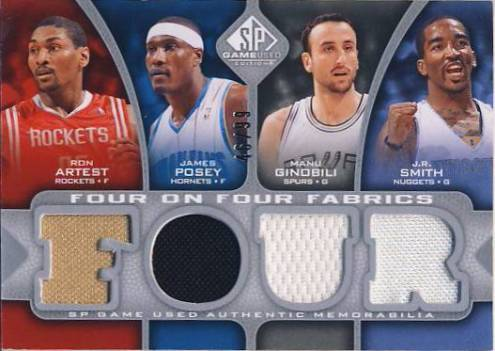 2009-10 SP Game Used 4 on 4 Fabrics #FFWEST6M Andrei Kirilenko/Mike Miller/Rudy Fernandez/James Posey/J.R. Smith/Manu Ginobili/Ron Artest/Lamar Odom