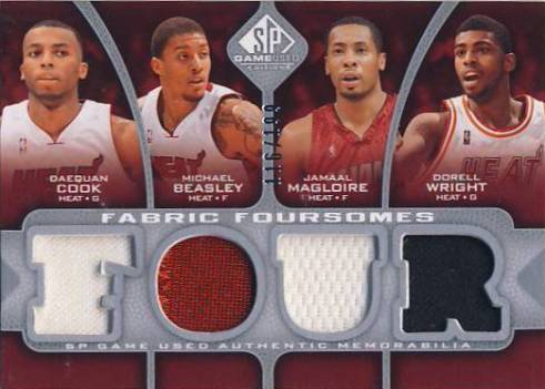 2009-10 SP Game Used Fabric Foursomes #F4MWCB Michael Beasley/Daequan Cook/Dorell Wright/Jamaal Magloire