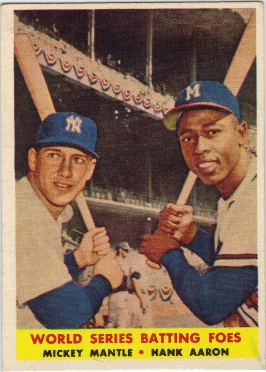 1958 Topps #418 World Series Batting Foes/Mickey Mantle/Hank Aaron front image