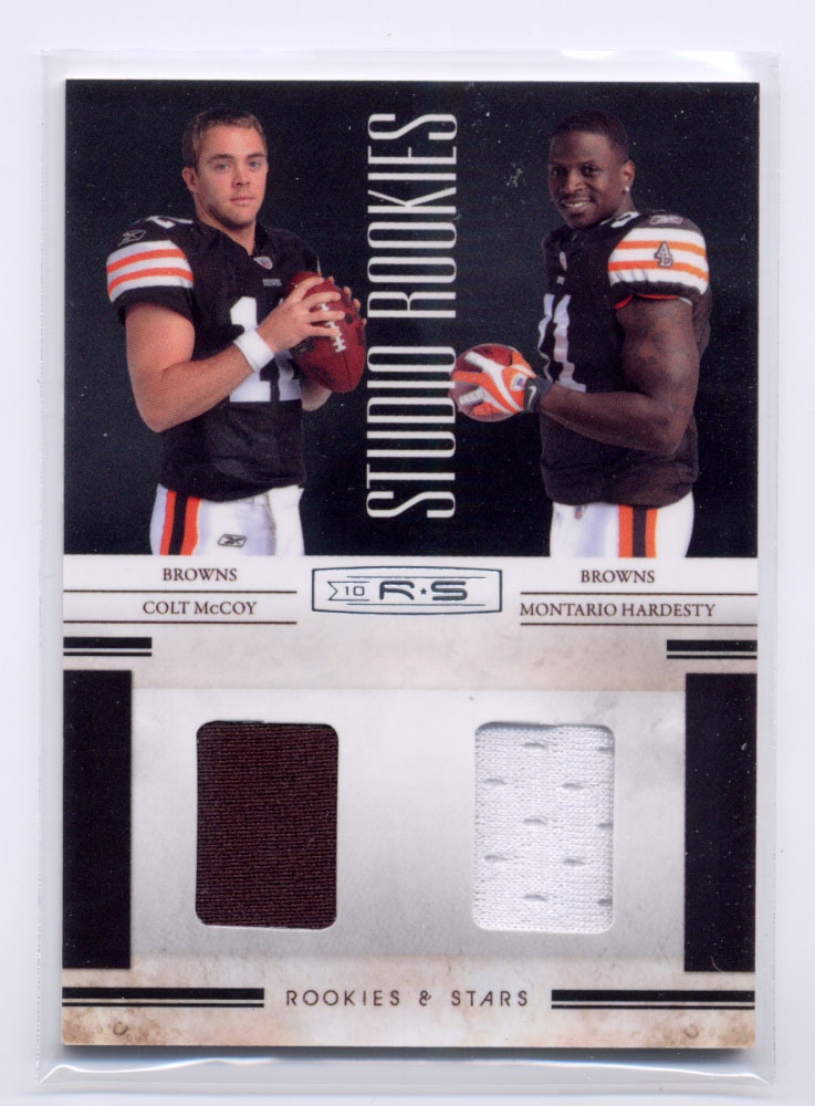 2010 Rookies and Stars Studio Rookies Combos Materials #4 Colt McCoy/Montario Hardesty