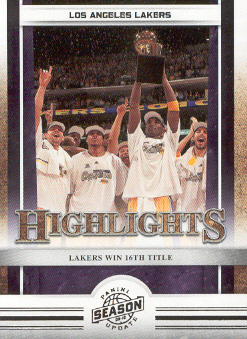 2009-10 Panini Season Update #20 Los Angeles Lakers HL/16th Title/Kobe Bryant/Sasha Vujacic/Derek Fisher/Shannon Brown/Ron Artest/Jordan Farmar/Andrew Bynum