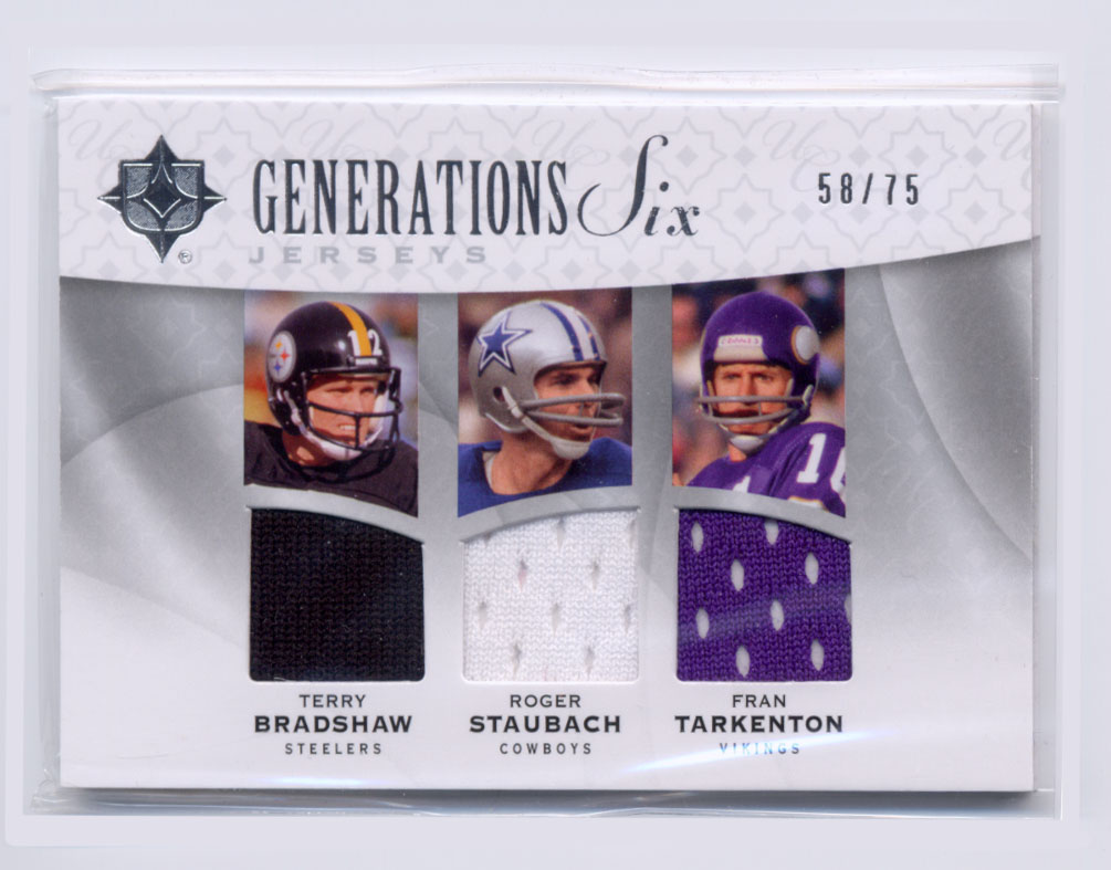2009 Ultimate Collection Ultimate Generations Six Jerseys #6 Drew Brees/Eli Manning/Fran Tarkenton/Peyton Manning/Roger Staubach/Terry Bradshaw