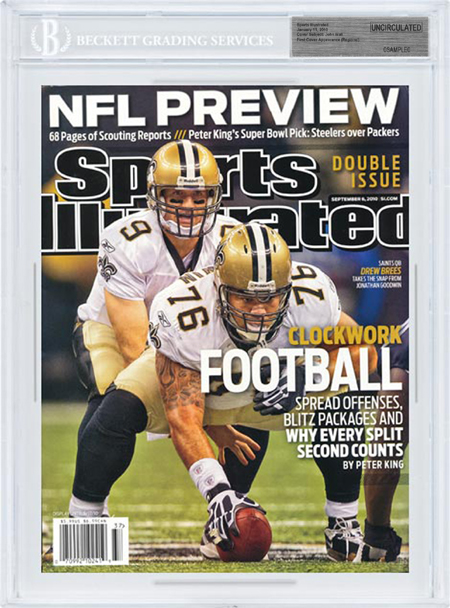 SPORTS ILLUSTRATED BGS SI Uncirculated DREW BREES New Orleans Saints front image