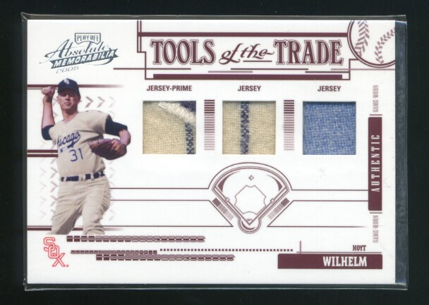 2005 Absolute Memorabilia Tools of the Trade Swatch Triple Prime Red #127 Hoyt Wilhelm J-J-J/75