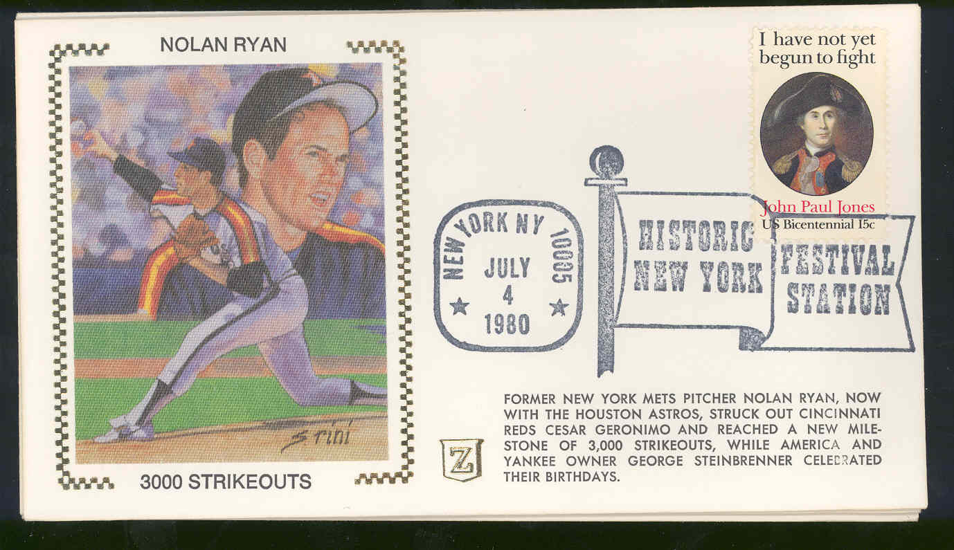 July 4,1980 First Day Cover Envelope Nolan Ryan Astros 3000 strikeouts
