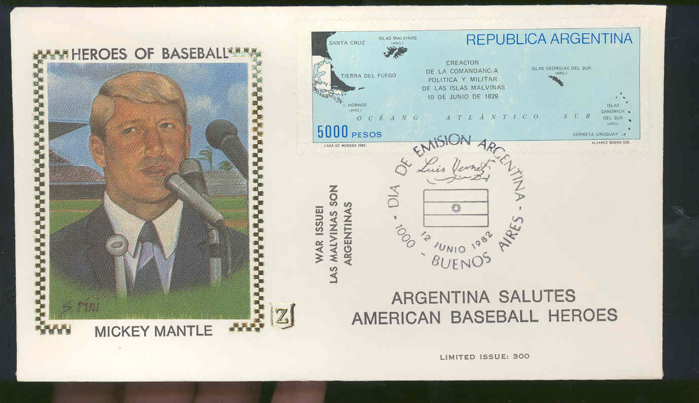 June 12,1982 First Day Cover Mickey Mantle Yankees Heroes Of Baseball