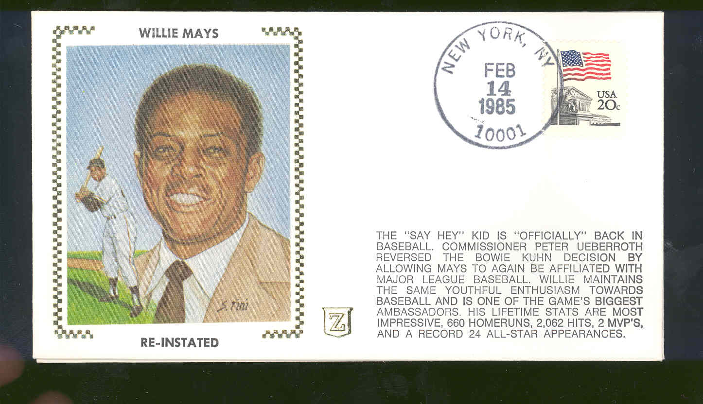 Feb 14,1985 First Day Cover Willie Mays Giants Re-Instated