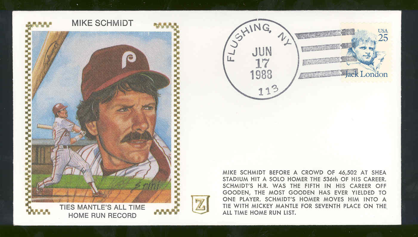 June 17,1988 First Day Cover Mike Schmidt Phillies Ties Mantles Home Run Record