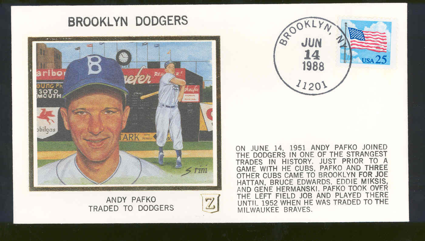 June 14,1988 First Day Cover Andy Pafko Brooklyn Dodgers