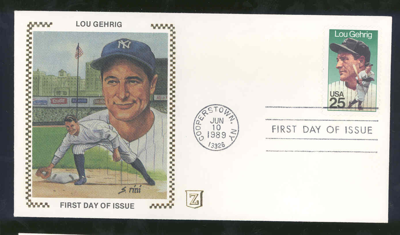 June 10, 1989 First Day Cover Lou Gehrig Yankees Fielding