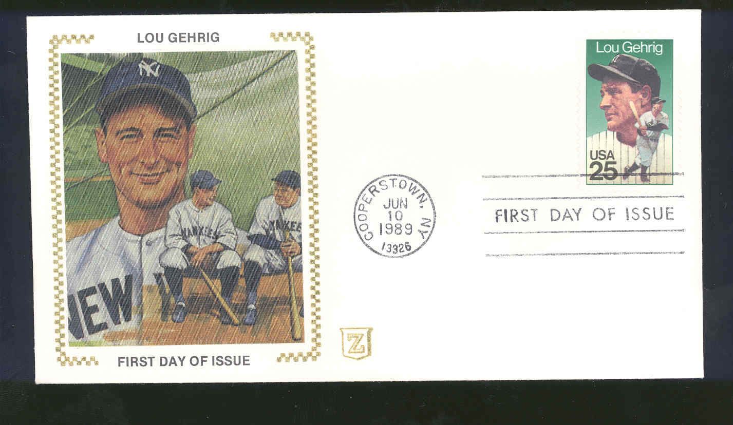 June 10, 1989 First Day Cover Lou Gehrig Yankees Sitting
