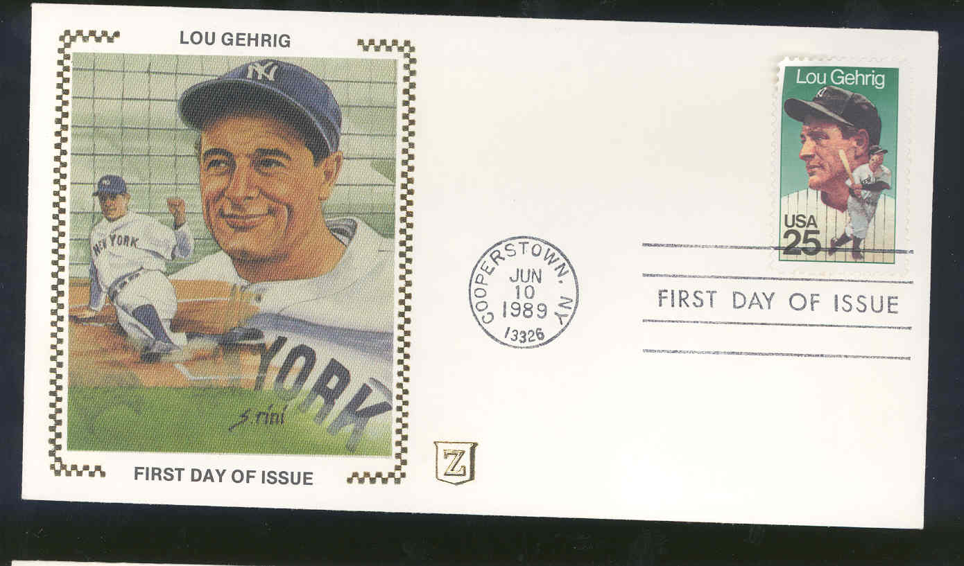 June 10, 1989 First Day Cover Lou Gehrig Yankees Sliding