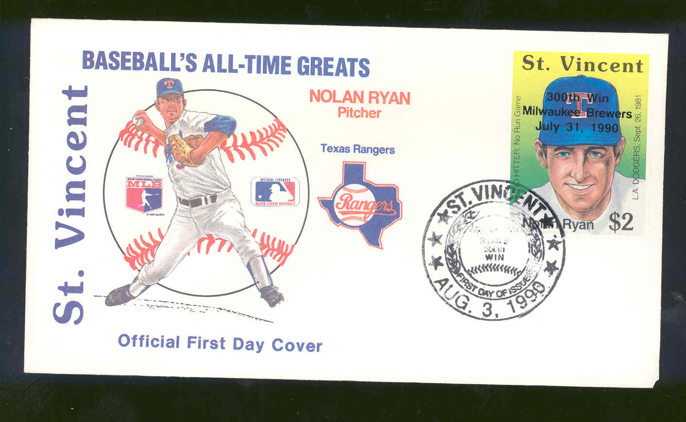 July 31, 1990 First Day Cover Baseball's All-Time Greats Nolan Ryan Rangers