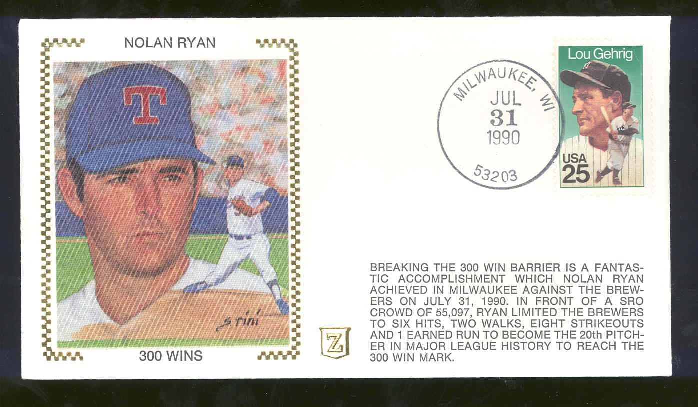 July 31, 1990 First Day Cover 300 Wins Nolan Ryan Rangers