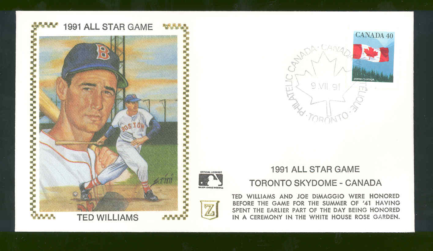 Sept 9,1991 First Day Cover Ted Williams All Star Game