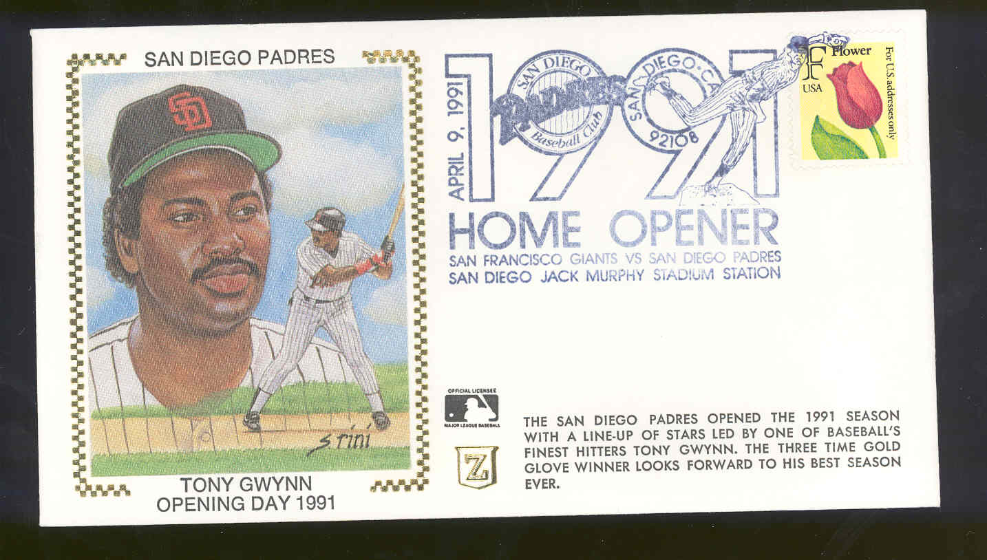April 9,1991 First Day Cover Tony Gwynn Padres Opening Day