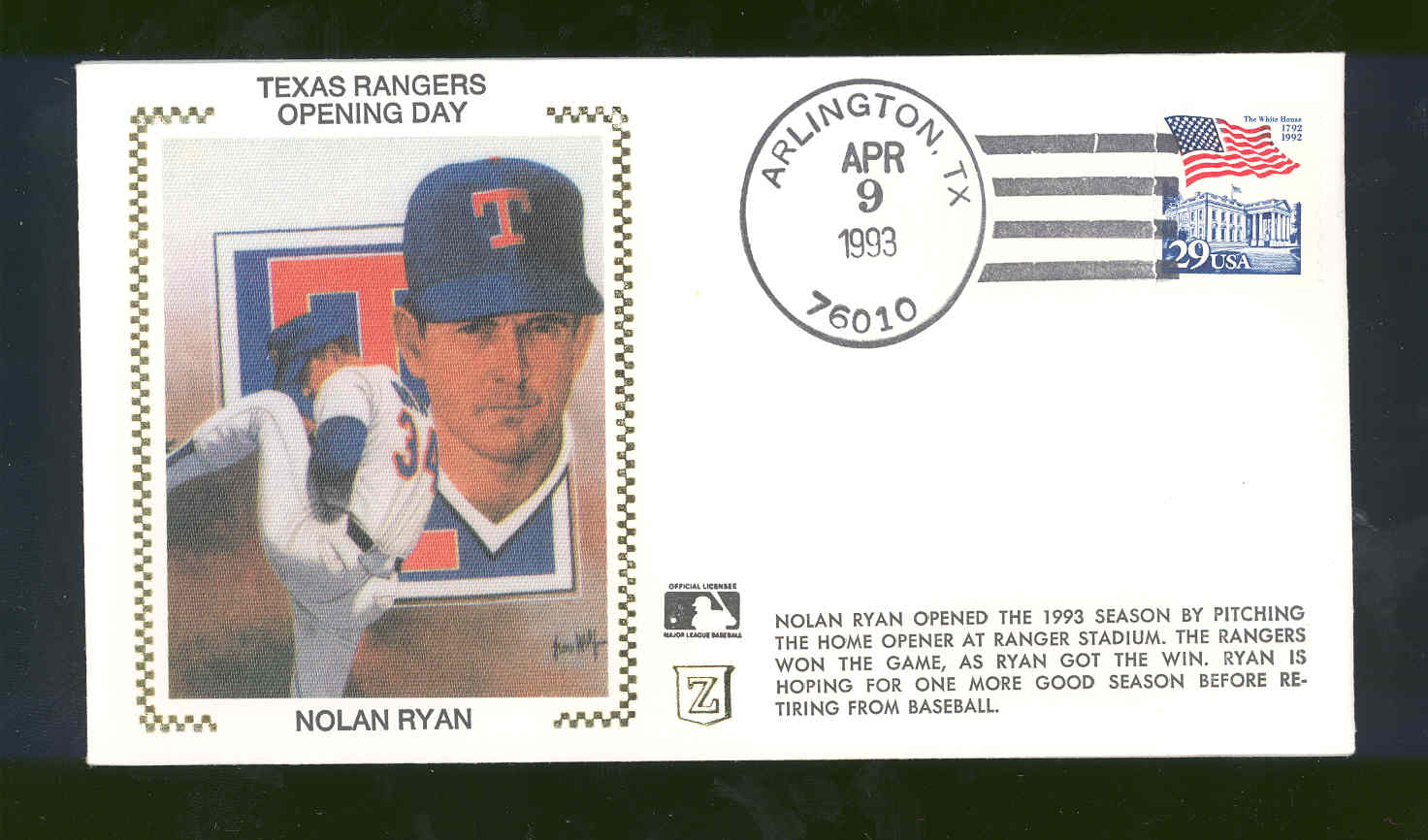April 9,1993 First Day Cover Nolan Ryan Texas Rangers Opening Day