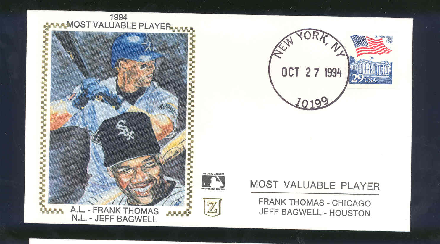 Oct 27, 1994 First Day Cover Frank Thomas/Jeff Bagwell MVP