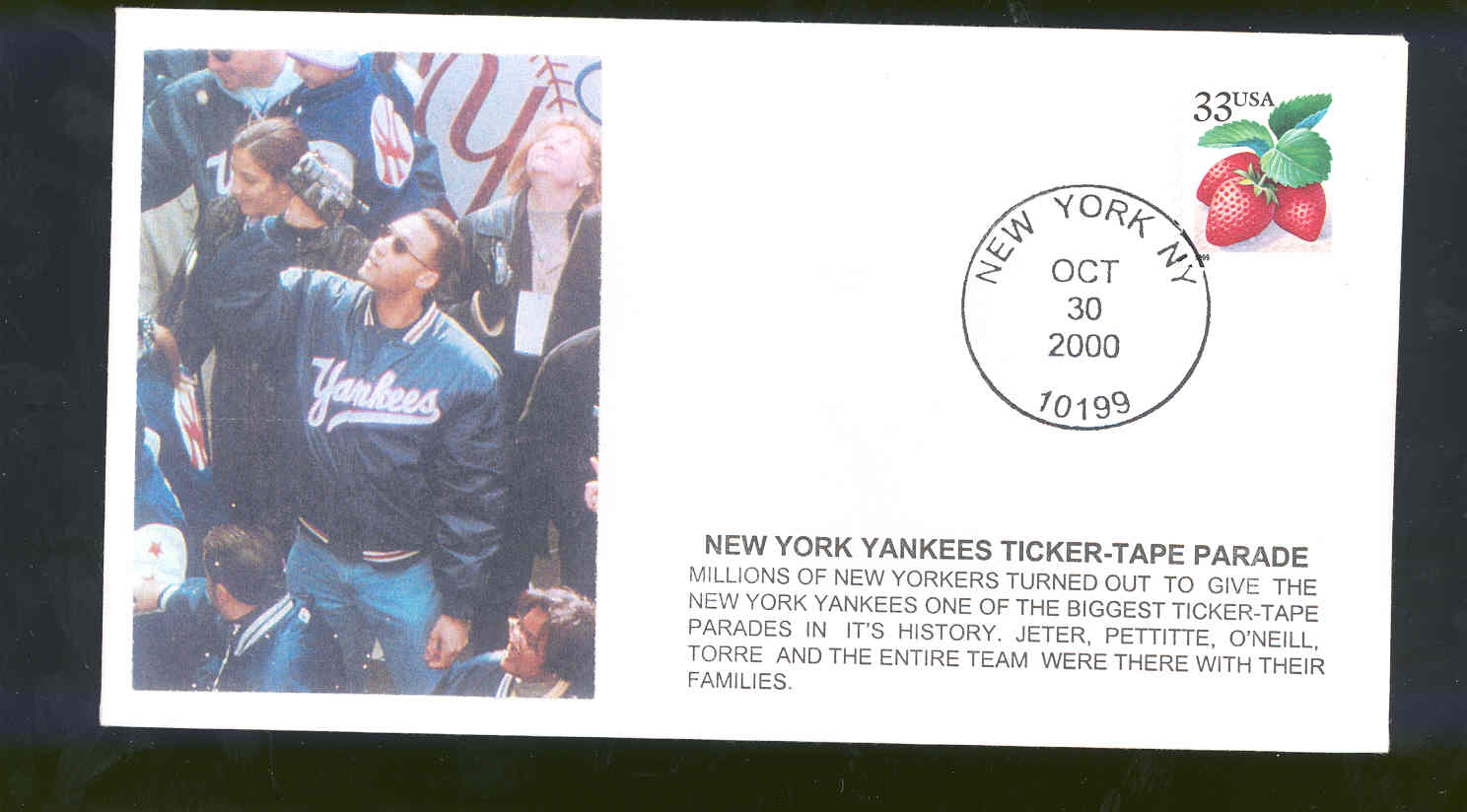 Oct 30,2000 First Day Cover Derek Jeter Yankees Ticker Tape Parade