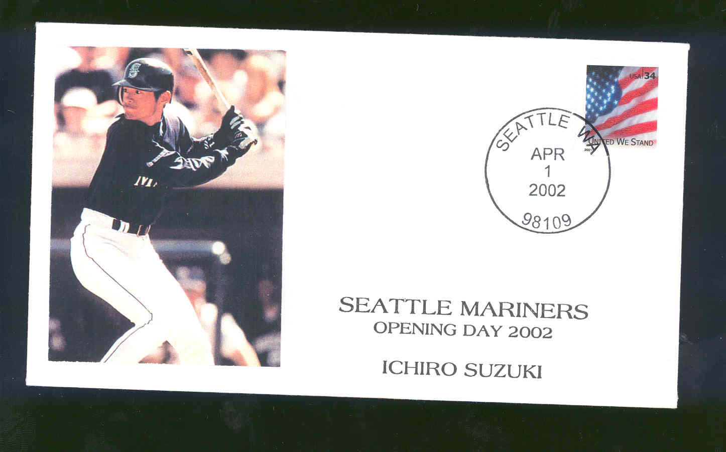 April 1,2002 First Day Cover Ichiro Suzuki Mariners Opening Day