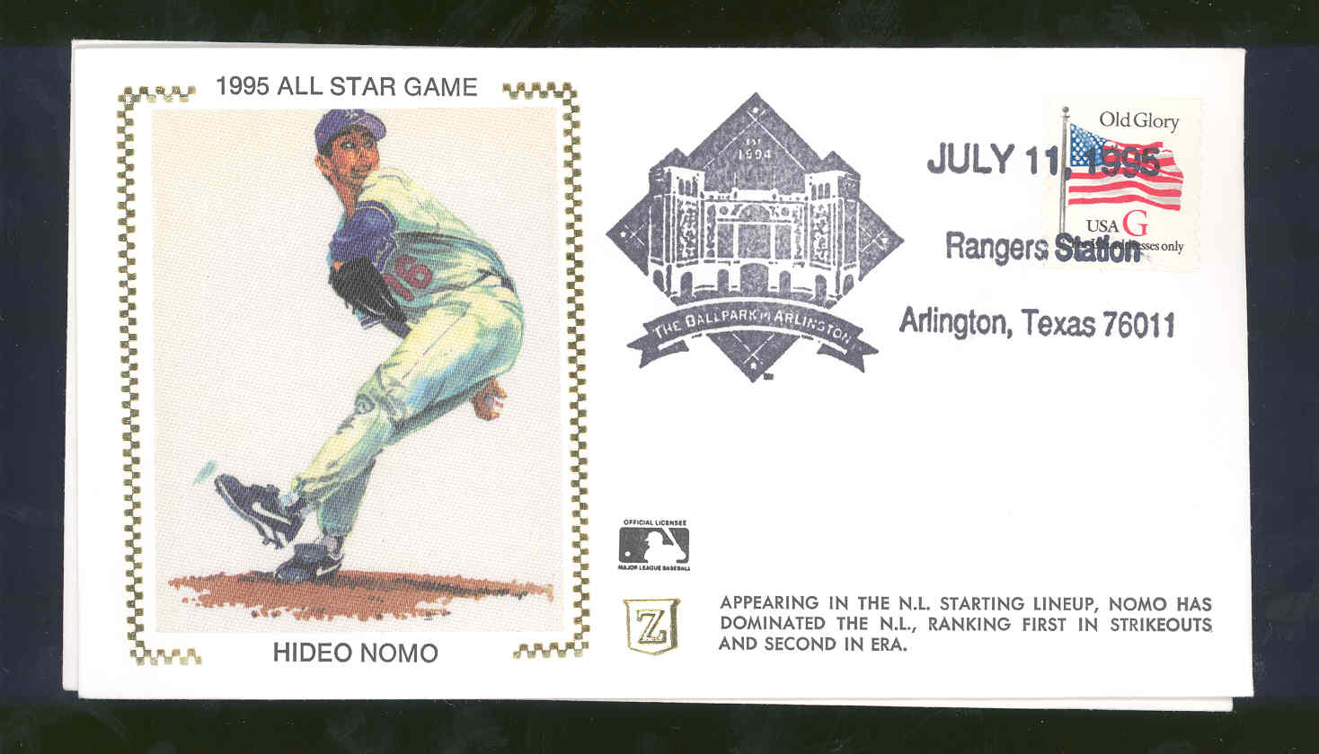 July 11,1995 First Day Cover Hideo Nomo Rangers All Star Game