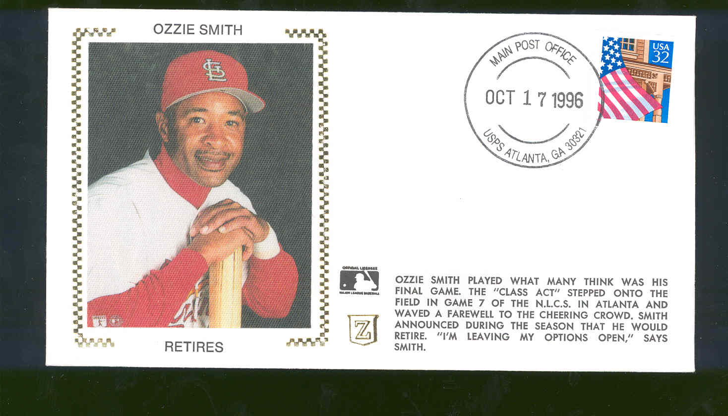 Oct 17,1996 First Day Cover Ozzie Smith Cardinals Retires