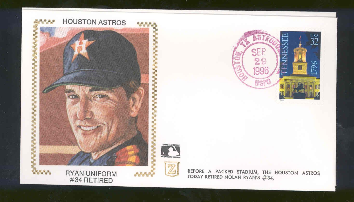 Sep 29,1996 First Day Cover Nolan Ryan Houston Astros #34 Retired