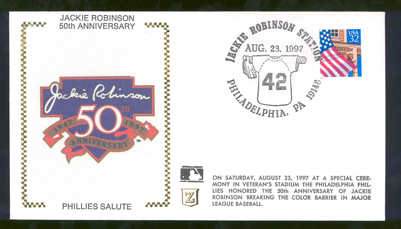 Aug 23,1997 First Day Cover Jackie Robinson 50th Anniversary Phillies Salute