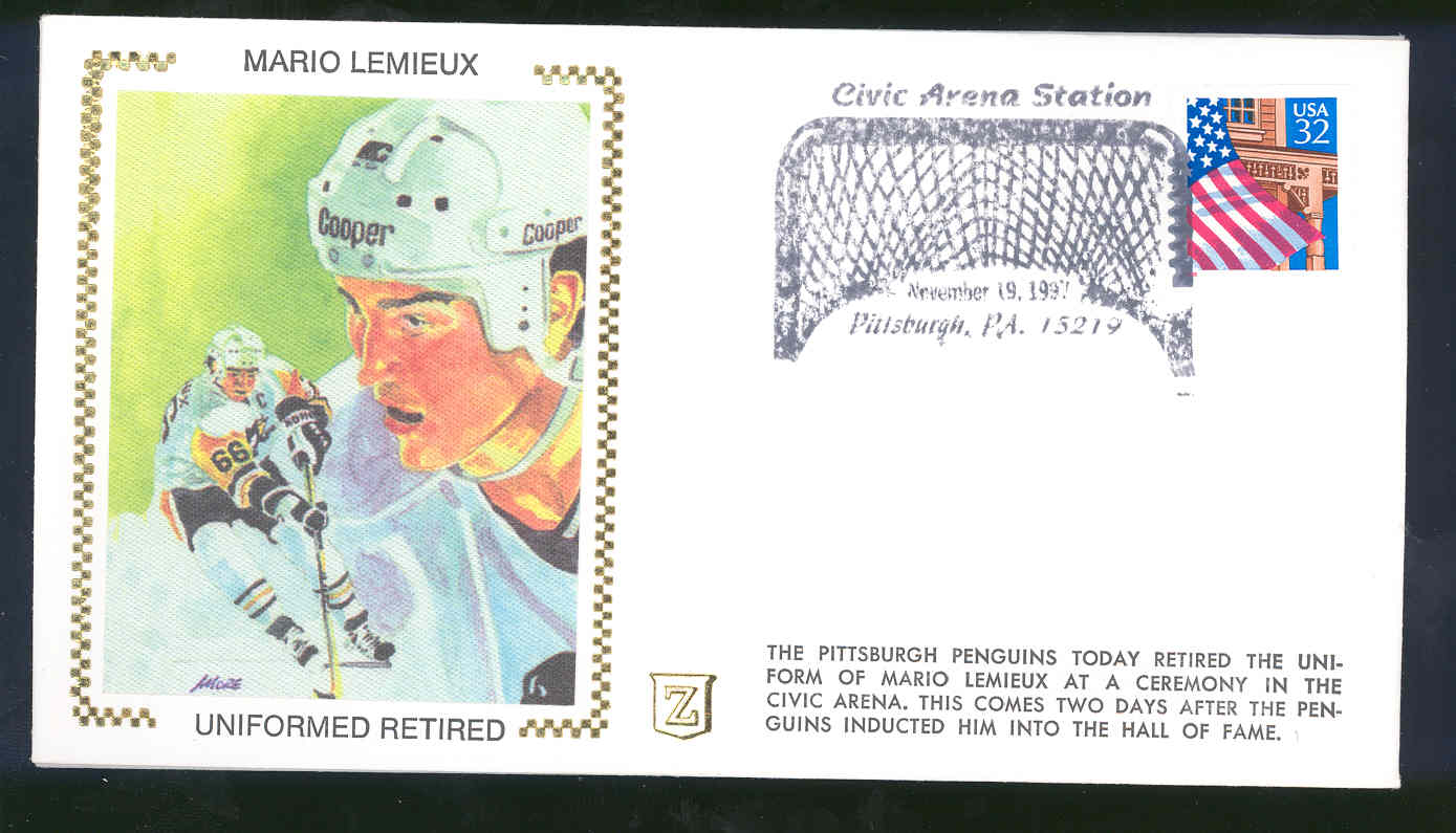 Nov 19,1997 First Day Cover Mario Lemieux Uniformed Retired