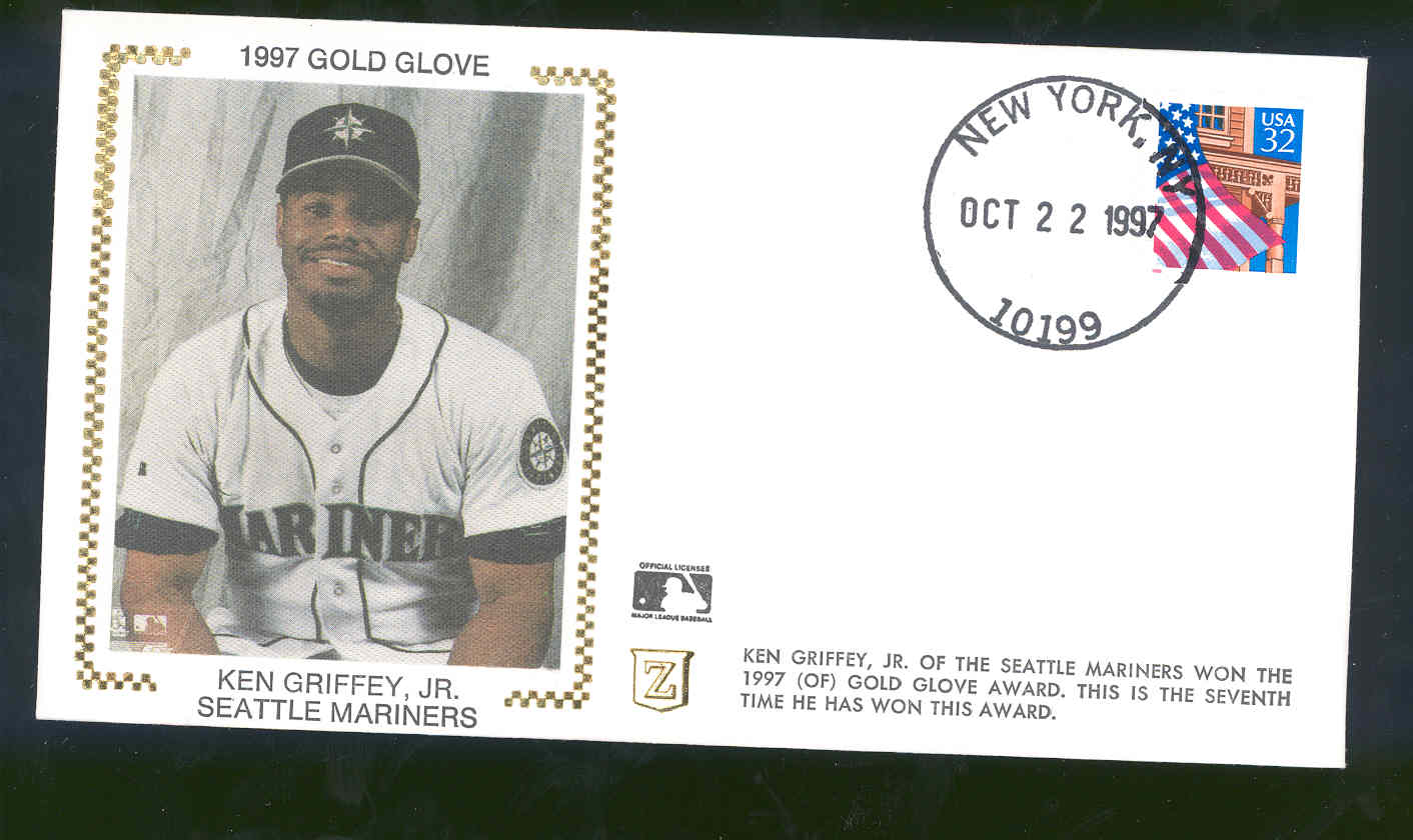 Oct 22,1997 First Day Cover Ken Griffey, JR Seattle Mariners Gold Glove