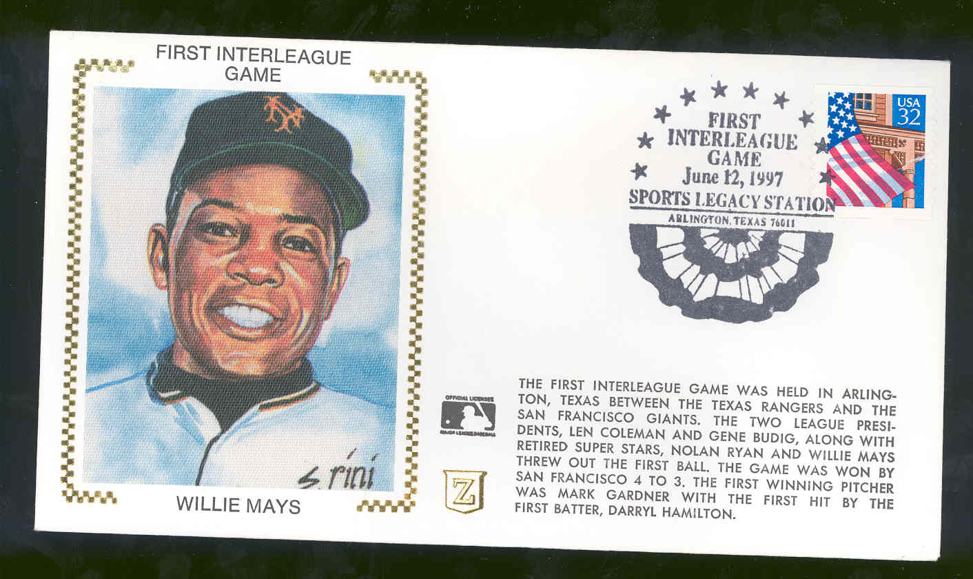 June 12,1997 First Day Cover Willie Mays Giants First Interleague Game