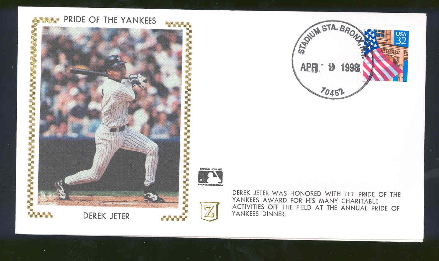 April 9,1998 First Day Cover Derek Jeter Pride Of The Yankees