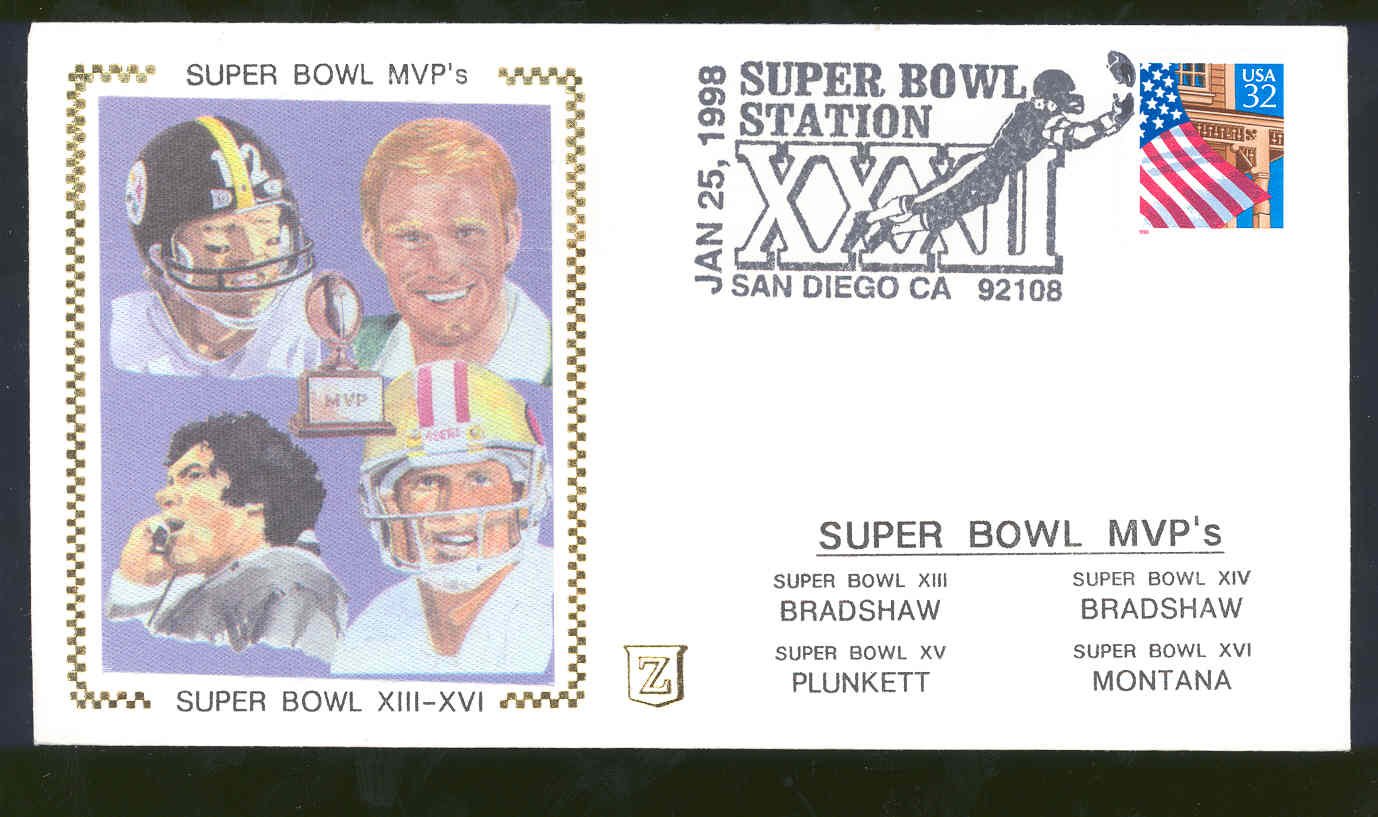 Jan 25,1998 First Day Cover Super Bowl MVP's XII-XVI Bradshaw,Plunkett,Bradshaw,Montana