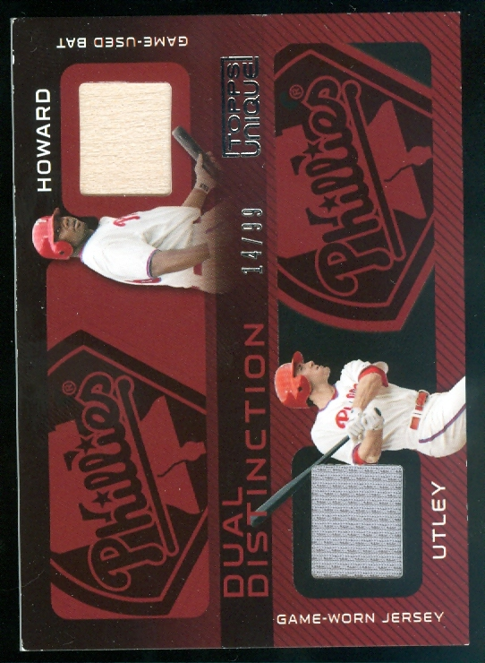 2009 Topps Unique Dual Distinction Relics #HU Ryan Howard/Chase Utley