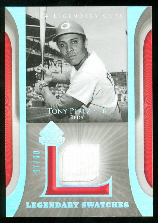 2004 SP Legendary Cuts Legendary Swatches 15 #TP Tony Perez Jsy front image