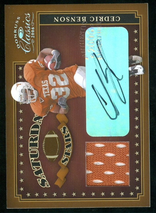 2006 Donruss Classics Saturday Stars Jerseys Autographs #26 Cedric Benson/5