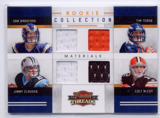 2010 Panini Threads Rookie Collection Materials Quad #4 Sam Bradford/Tim Tebow/Jimmy Clausen/Colt McCoy front image