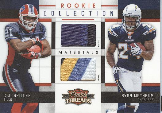 2010 Panini Threads Rookie Collection Materials Combo Prime #14 C.J. Spiller/Ryan Mathews