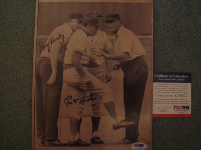 Doug Harvey / Leo Durocher Autographed 8 X 10 Picture with PSA COA