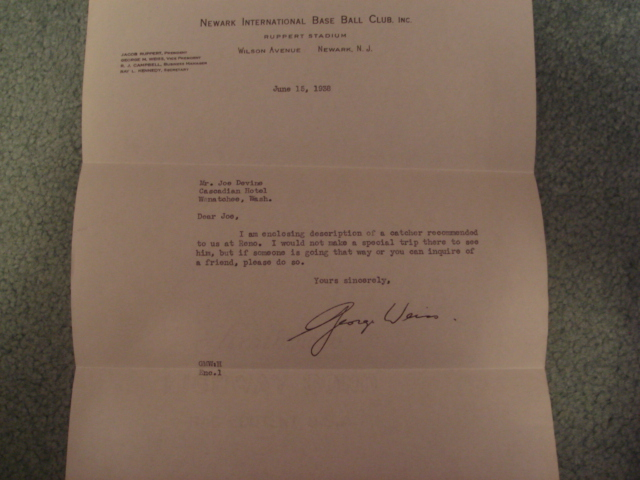 George Weiss Autographed Letter With COA