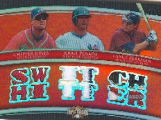 2010 Topps Triple Threads Relic Combos #RC28 Chipper Jones/Jorge Posada/Lance Berkman