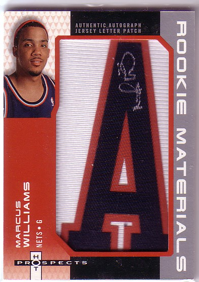 2006-07 Fleer Hot Prospects Rookie Materials Letter Autographs #MW Marcus Williams