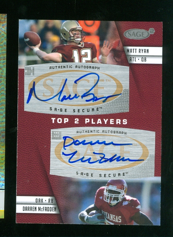 2008 SAGE Squared Dual Autographs #A1 Matt Ryan/Darren McFadden