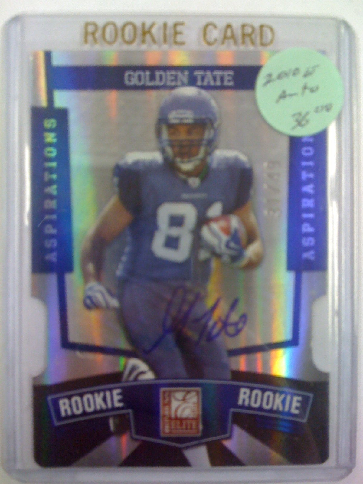 2010 Donruss Elite Aspirations Autographs #156 Golden Tate/49